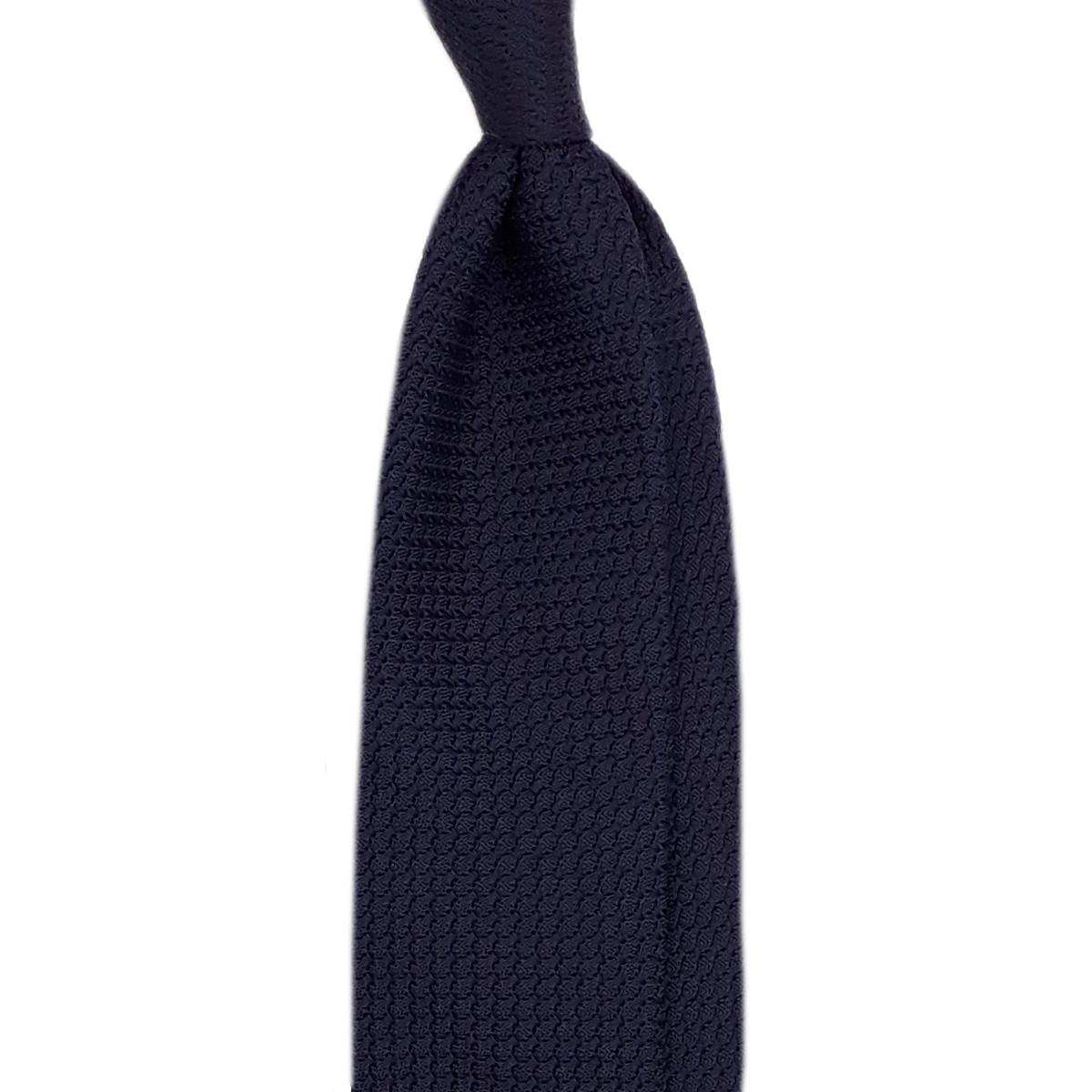 Cravate bleu foncé grenadine de soie