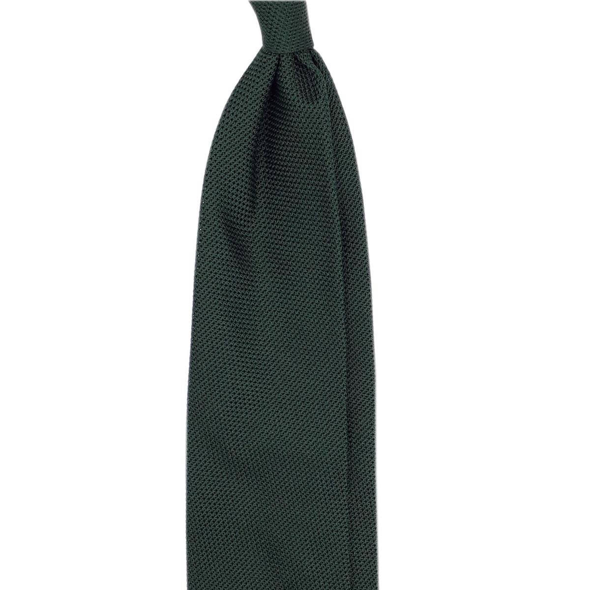 Cravate en grenadine de soie vert forêt
