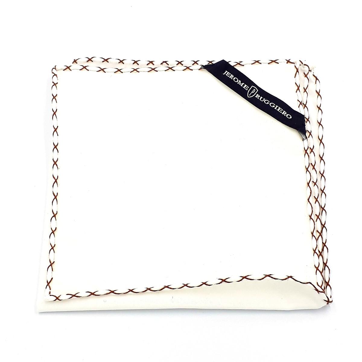 Pochette de poche blanche avec points de couture bruns X