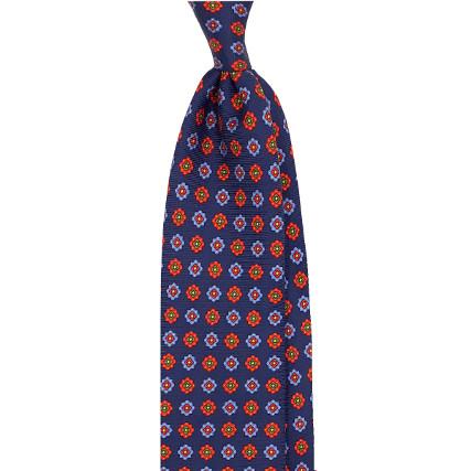 Cravate bleue - fleurs oranges