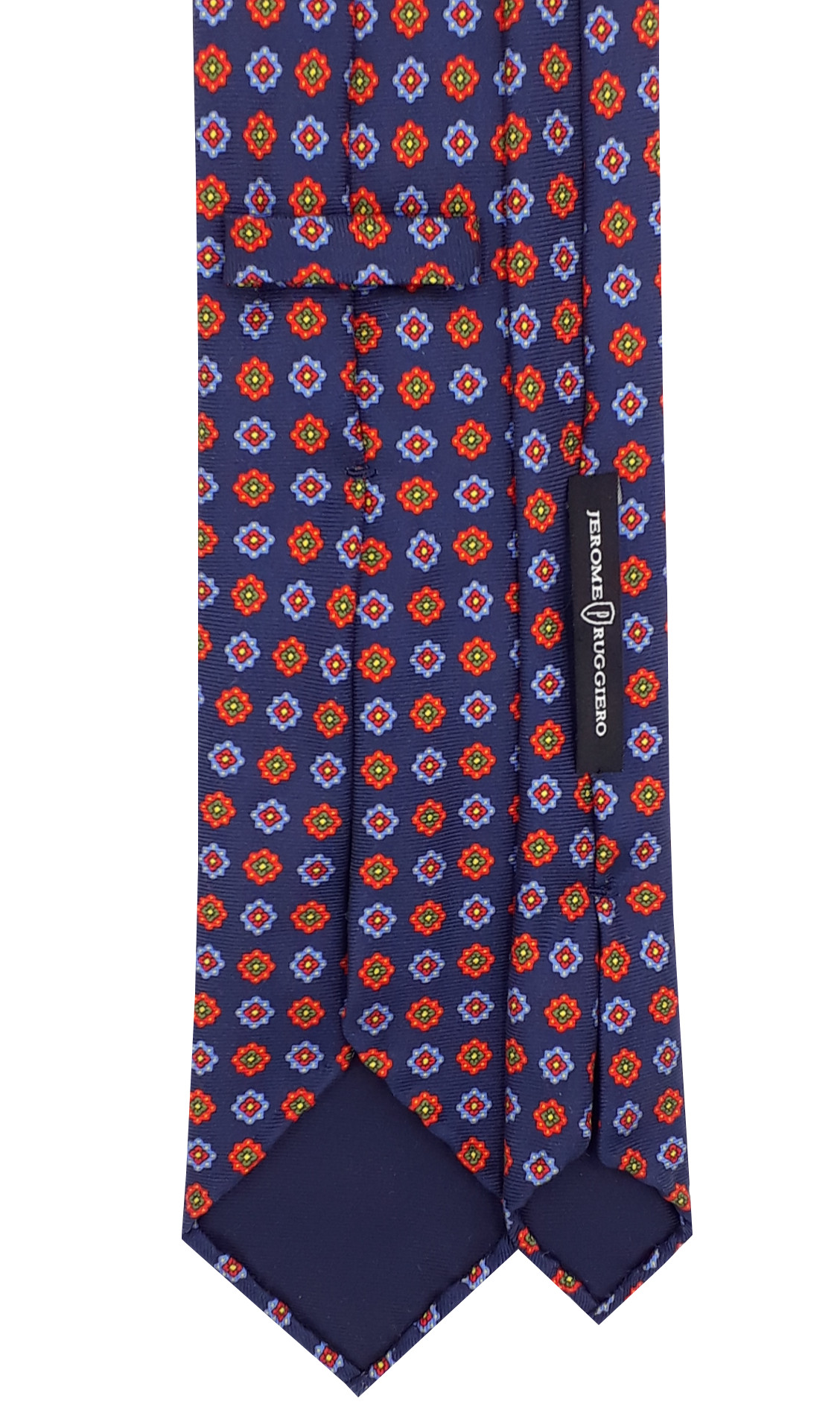 Mixed orange flowers blue tie - 5 fold