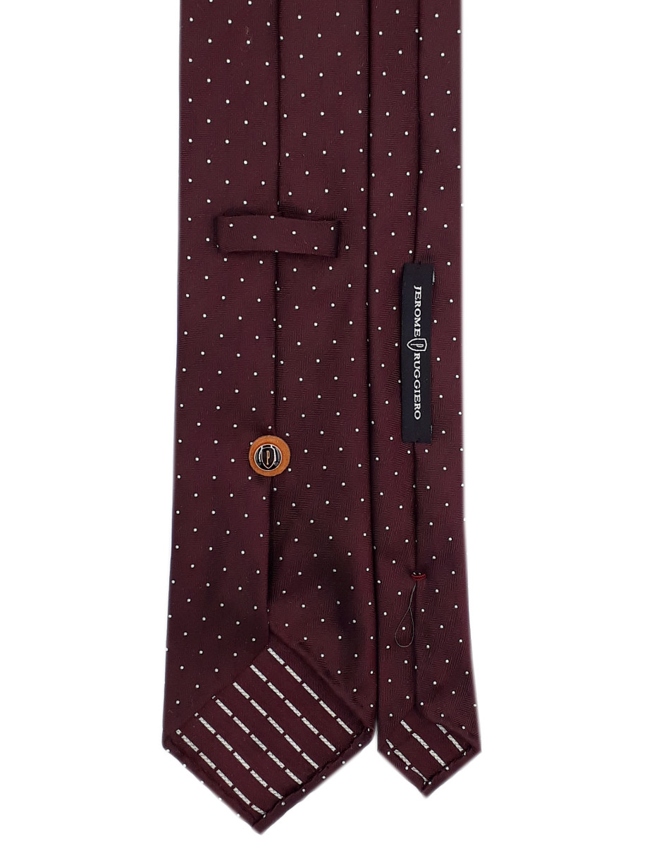 Burgundy tie white dots