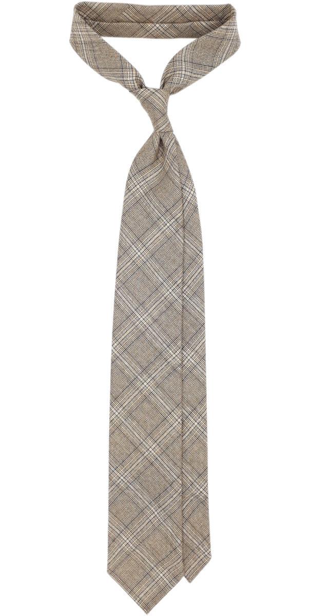 Jacquard beige 3 fold tie